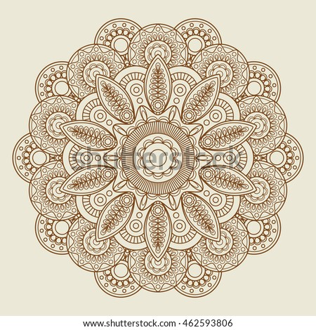 Round floral henna tattoo mandala. Vector illustration