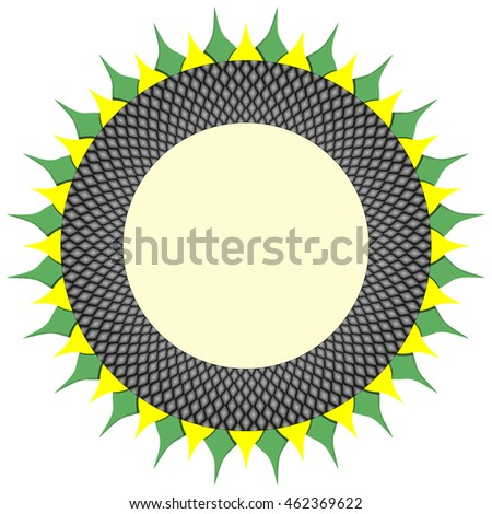 Round frame based on floral sunflower pattern with dark ring of seeds and yellow and green petals. Vector ornament for copy space.
