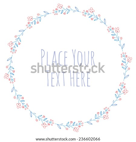 Round frame flower leaves and branch garland - watercolor vector template - stock vector