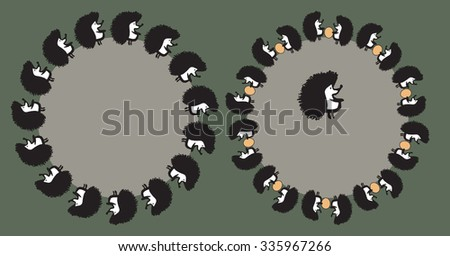 Round frame for the text with a hedgehog - stock vector