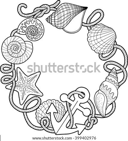 Coloring book adult sea beach slippers stock vector for Shells coloring page