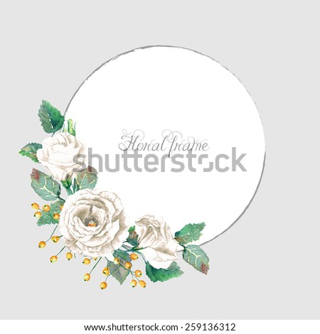 Round frame of watercolor white roses. Vector illustration wreath of flowers. Can be used as a greeting card for background of Valentine's day, birthday, mother's day or any other design. - stock vector