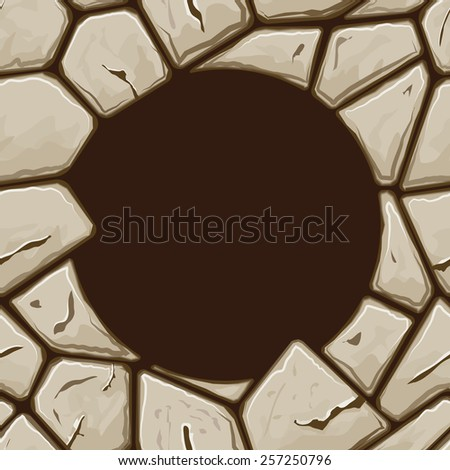 Round frame on simple brown stone seamless pattern - stock vector