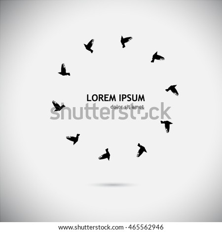 Round frame with birds. Vector