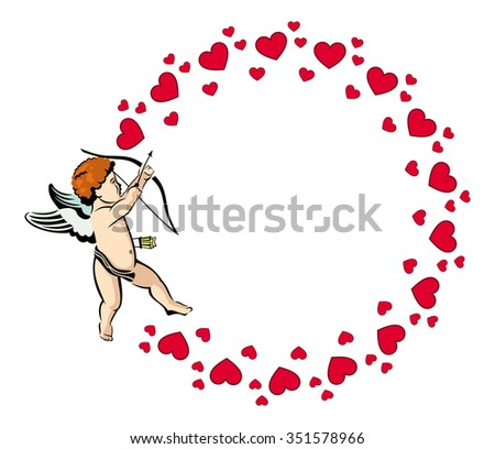 Round frame with Cupid - stock vector