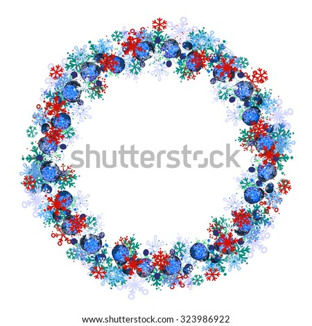Round frame with different blue snowflakes. Wreath for your design, Christmas announcements, greeting cards, posters. - stock vector