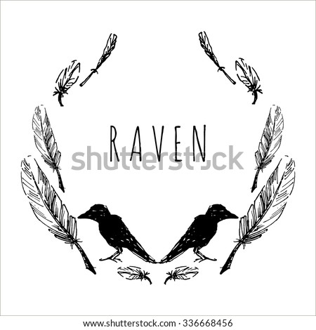 Round frame with feathers and crow. Hand drawn vector template. Tribal design element. - stock vector