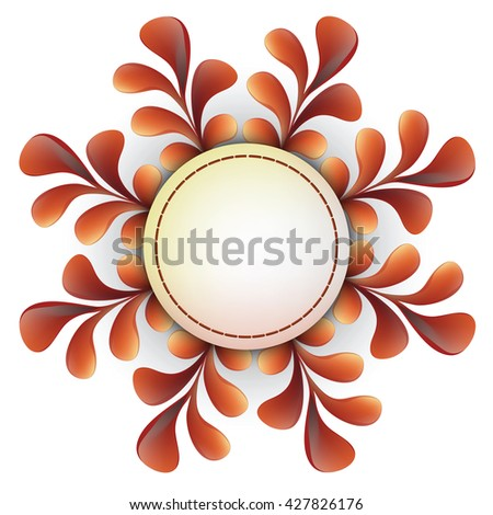 Round frame with floral pattern. Wreath border. Round banner. Circle banner. Vector label. Floral background. Circle border. Ornate frame. - stock vector