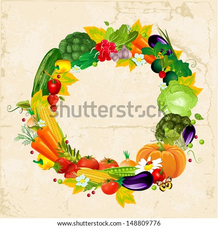 Round frame with fresh vegetables for your design - stock vector