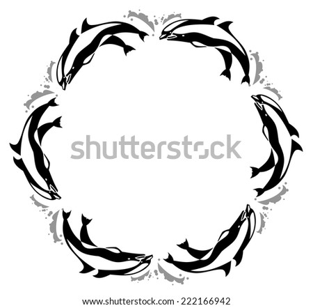 Round frame with jumping  dolphin - stock vector