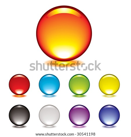 round gel button icon with glow and drop shadow - stock vector