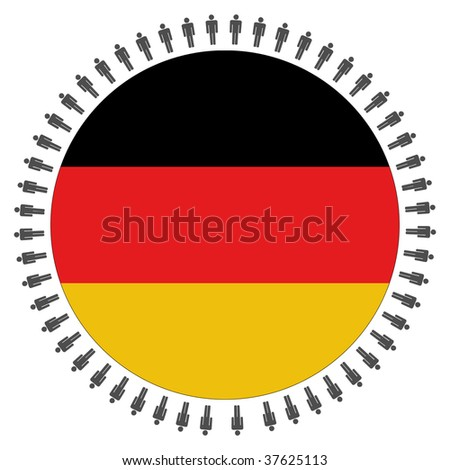 Round German flag with circle of people illustration