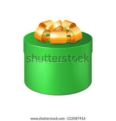 Round Gift Box Green With Golden Ribbon Bow. Vector EPS10 - stock vector