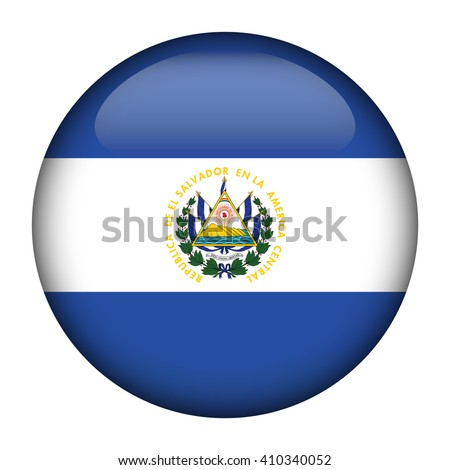 Round glossy Button with flag of El Salvador - stock vector