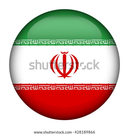 Round glossy Button with flag of Iran