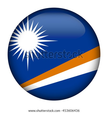 Round glossy Button with flag of Marshall Islands - stock vector