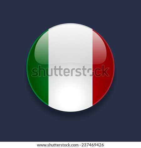 Round glossy icon with national flag of Italy on dark blue background - stock vector