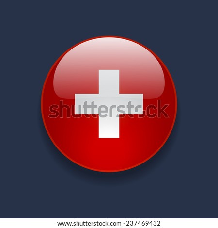Round glossy icon with national flag of Switzerland on dark blue background - stock vector