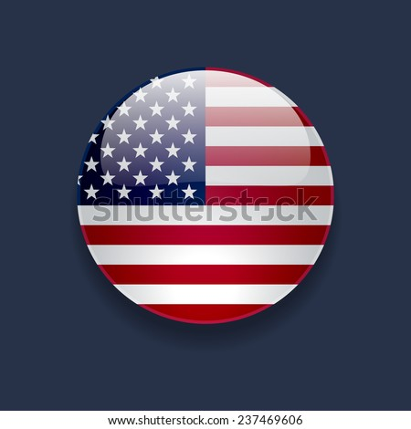 Round glossy icon with national flag of the USA on dark blue background - stock vector
