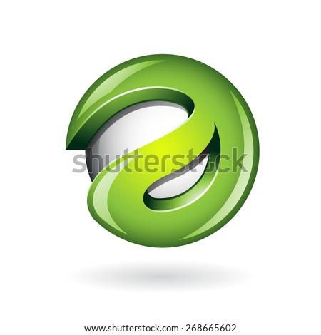 Round Glossy Letter A 3d Green Logo Shape Vector Illustration - stock vector
