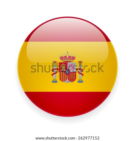 Round glossy vector icon with national flag of Spain on white background - stock vector