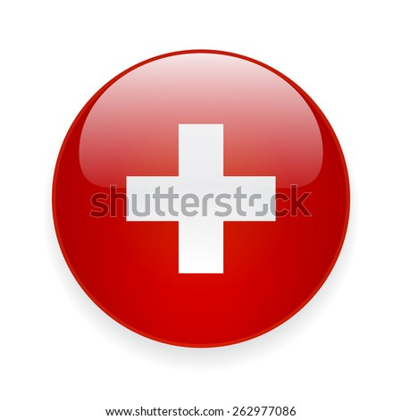 Round glossy vector icon with national flag of Switzerland on white background - stock vector