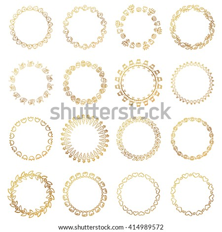 Round gold border frame with doodle flowers and animals. Can be used for decoration and design photo frame, menu, card, scrapbook, album. Vector Illustration - stock vector