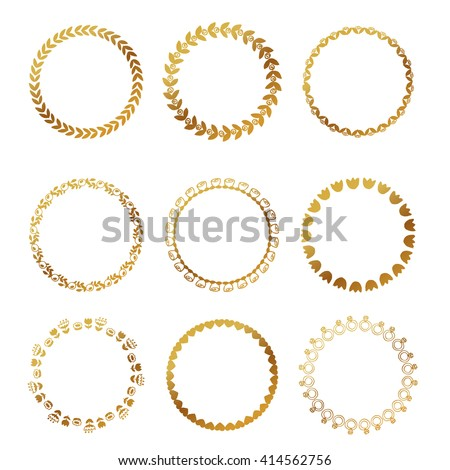 Round gold border frame with doodle flowers. Can be used for decoration and design photo frame, menu, card, scrapbook, album. Vector Illustration - stock vector
