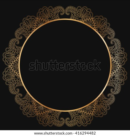 Round gold lace border frame silhouettes. Can be used for decoration and design photo frame, menu, card, scrapbook, album. Vector Illustration.