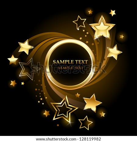 Round golden banner with gold, shining stars on a black background. - stock vector