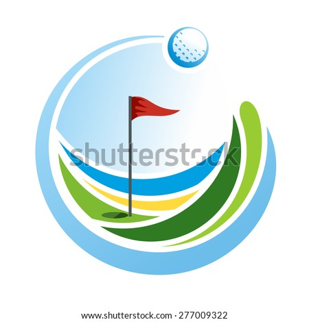 Round golf emblem with a ball and a flag on the green field - stock vector