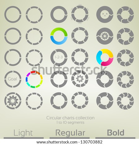 Round graph circular charts, set of thirty design templates, from one to ten arrow shaped segments in three variations of thickness - stock vector