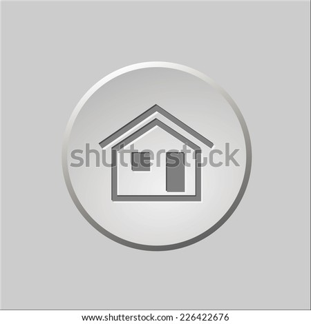 Round gray button with symbol home - stock vector