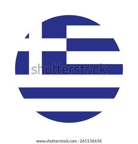 Round greece flag vector icon isolated, greece flag button - stock vector
