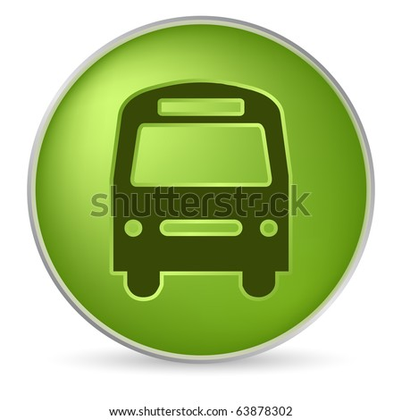round green bus icon in 3D effect - stock vector