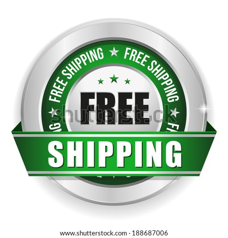 Round green free shipping badge with ribbon and metallic border