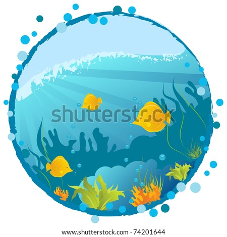 Round grunge underwater background with fishes, algae and corals
