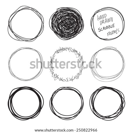 Round hand drawn scribbles frames set - stock vector