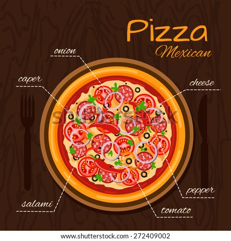Round hot delicious tasty Mexican pizza in flat style. Vector illustration of pizza with onion, caper, tomato, salami, cheese, pepper.  - stock vector