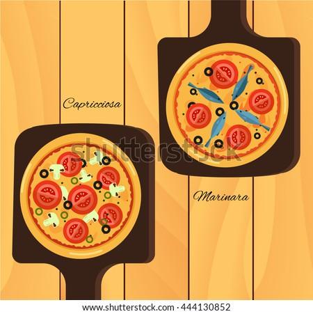 Round hot delicious tasty pizza in flat style. Vector illustration of  Marinara, Capricciosa - stock vector