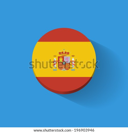 Round icon with national flag of Spain. Flat design. - stock vector