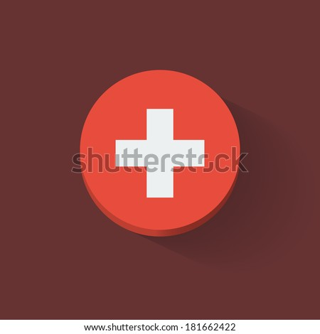 Round icon with national flag of Switzerland. Flat design. - stock vector