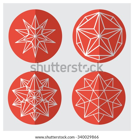 Round icons of geometric shapes. The complex geometry . polygonal mesh . Vector illustrations .Christmas and new year concept. Crystals. Hexagonal shapes set - stock vector