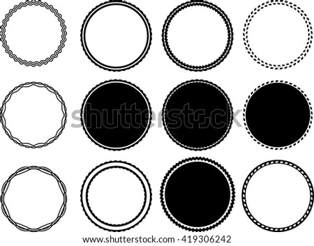 Round Label Banner Collection. Grunge Circle Shapes .Stamps Collection,Insignias , Logos, Icons, Labels and Badges Set . - stock vector