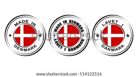"Round label ""Made in Denmark"" with flag"
