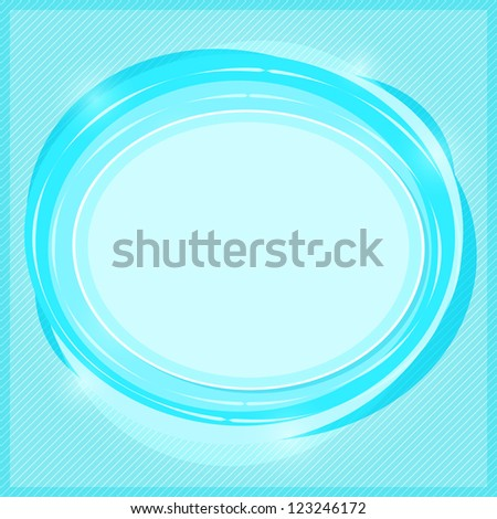 Round Label with Place for Text. Paper Shiny Blue Card - stock vector