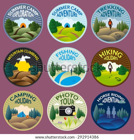 Round labels for camping, fishing, trekking, riding, climbing and other outdoor activities to practice in the wild nature - stock vector
