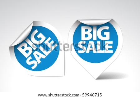 Round Labels / stickers for big sale - blue  with white border - stock vector