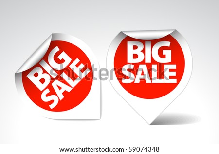 Round Labels / stickers for big sale - red with white border - stock vector