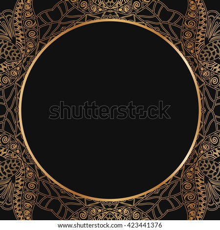 Round lace border frame silhouettes. Can be used for decoration and design photo frame, menu, card, scrapbook, album. Vector Illustration